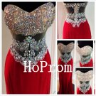 Sweetheart Prom Dress,Red Satin Prom Dresses,Evening Dress