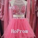 Two Piece Prom Dress,Short Mini Prom Dresses,Evening Dress