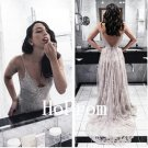 Lace Tulle Prom Dress,V-Neck Prom Dresses,Evening Dress