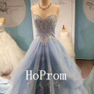 Elegant Applique Prom Dress,Long Tulle Prom Dresses,Evening Dress