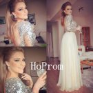 Sequin Beaded Prom Dress,Long Sleeve Prom Dresses,Evening Dress