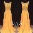 Yellow Applique Prom Dress,Sleeveless Prom Dresses,Evening Dress
