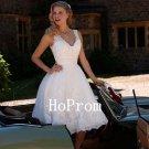 Knee Length Prom Dress,White Tulle Prom Dresses,Evening Dress
