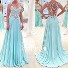 Light Blue Prom Dress,Straps Prom Dresses,Evening Dress