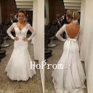White Lace Prom Dress,Long Sleeve Prom Dresses,Evening Dress