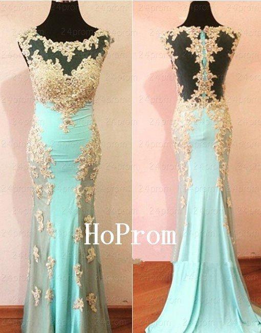 Floor Length Prom Dress,Applique Mermaid Prom Dresses,Evening Dress
