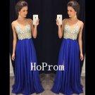 Royal Blue Prom Dress,V-Neck Prom Dresses,Evening Dress