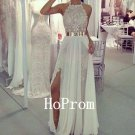 A-Line White Prom Dress,Halter Chiffon Prom Dresses,Evening Dress