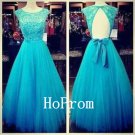 Cap Sleeve Prom Dress,Lace Tulle Prom Dresses,Evening Dress