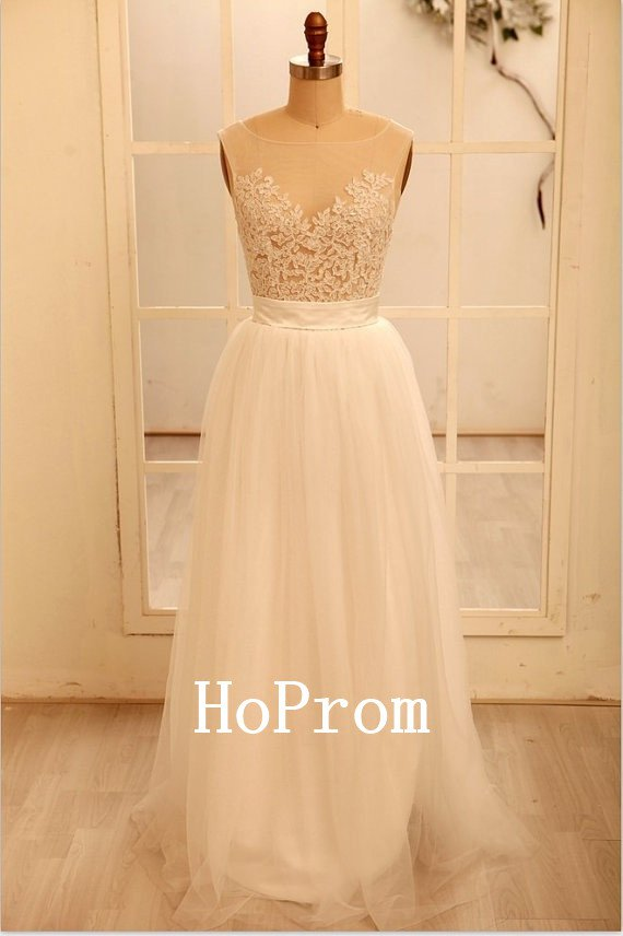 Lace Tulle Prom Dress,White Long Prom Dresses,Evening Dress