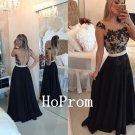 Lace Applique Prom Dress,Chiffon Long Prom Dresses,Evening Dress
