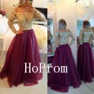 Applique Beaded Prom Dress,A-Line Prom Dresses,Evening Dress