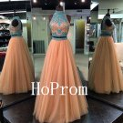 Two Piece Prom Dress,High Neck Prom Dresses,Evening Dress