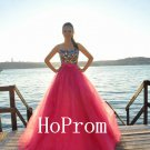Floor Length Prom Dress,Red Tulle Prom Dresses,Evening Dress