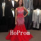 Red Beaded Prom Dress,Sleeveless Prom Dresses,Evening Dress