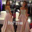 Beaded Strapless Prom Dress,A-Line Prom Dresses,Evening Dress