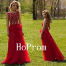Red Applique Prom Dress,A-Line Prom Dresses,Evening Dress