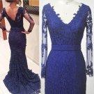 V-Neck Lace Prom Dress,Long Sleeve Prom Dresses,Evening Dress