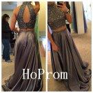 High Neck Prom Dress,Sparkly Prom Dresses,Long Evening Dress