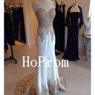 White Applique Prom Dress,Mermaid Prom Dresses,Evening Dress