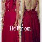 Red Chiffon Prom Dress,Sleeveless Prom Dresses,Evening Dress