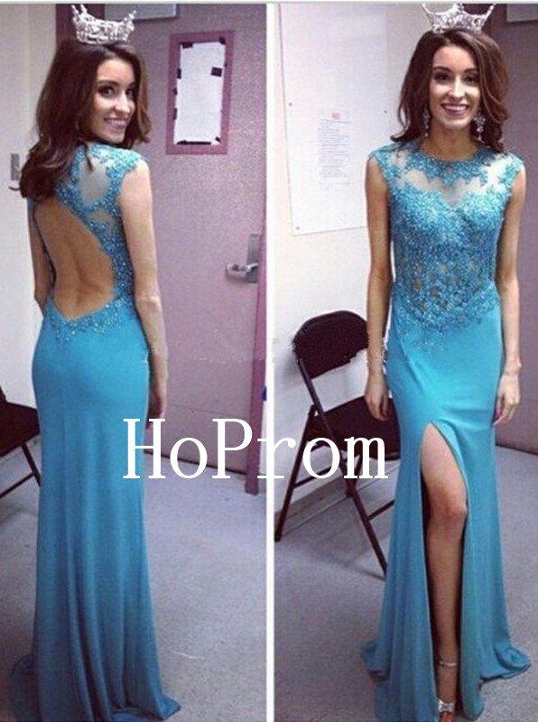 Blue Applique Prom Dress,Split Long Prom Dresses,Evening Dress