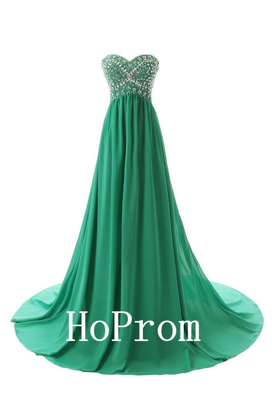 Sweetheart Green Prom Dress,Beaded Prom Dresses,Evening Dress