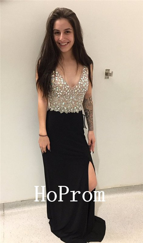 V-Neck Prom Dress,Sleeveless Prom Dresses,Evening Dress