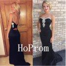 Strapless Black Prom Dress,Long Prom Dresses,Evening Dress