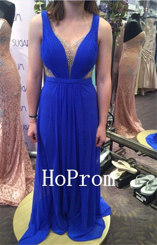 Sleeveless Blue Prom Dress,A-Line Prom Dresses,Evening Dress
