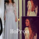 Open Back Prom Dress,Long Sleeve Prom Dresses,Evening Dress
