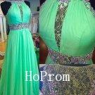 Lace Chiffon Prom Dress,Beaded Prom Dresses,Evening Dress