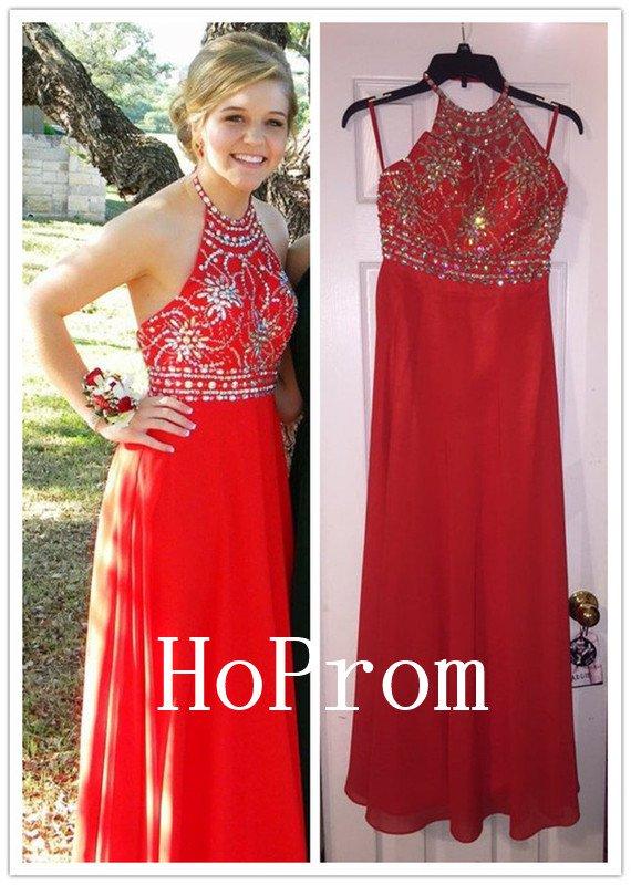 Beaded Red Prom Dress,Halter Prom Dresses,Evening Dress