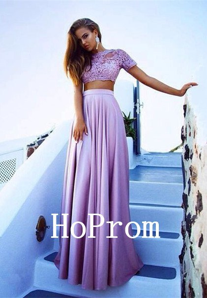 Two piece Prom Dress,Short Sleeve Prom Dresses,Evening Dress