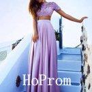 Two piece Prom Dress,Short Sleeve Prom Dresses,Evening Dress