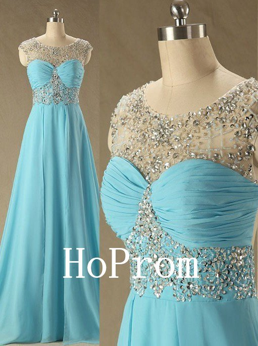 Blue Beaded Prom Dress,A-Line Prom Dresses,Evening Dress