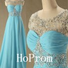 Blue Beaded Prom Dress,A-Line Prom Dresses,Evening Dress