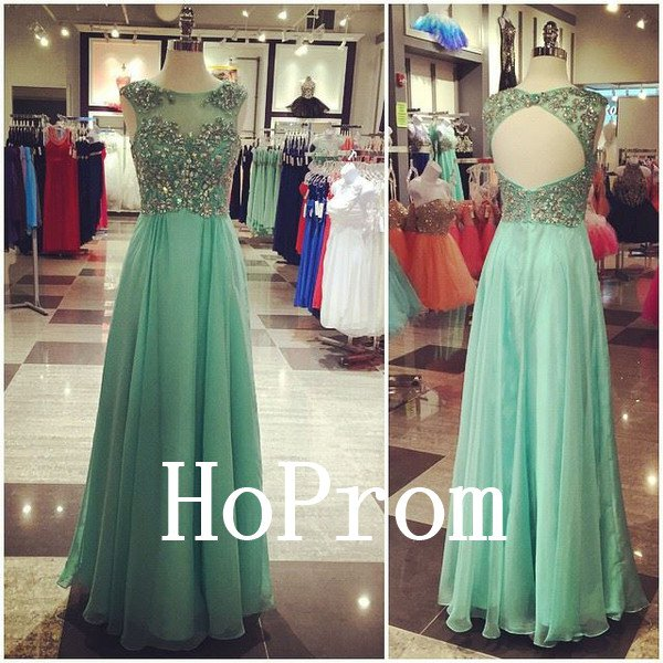 Backless Beaded Prom Dress,A-Line Prom Dresses,Evening Dress