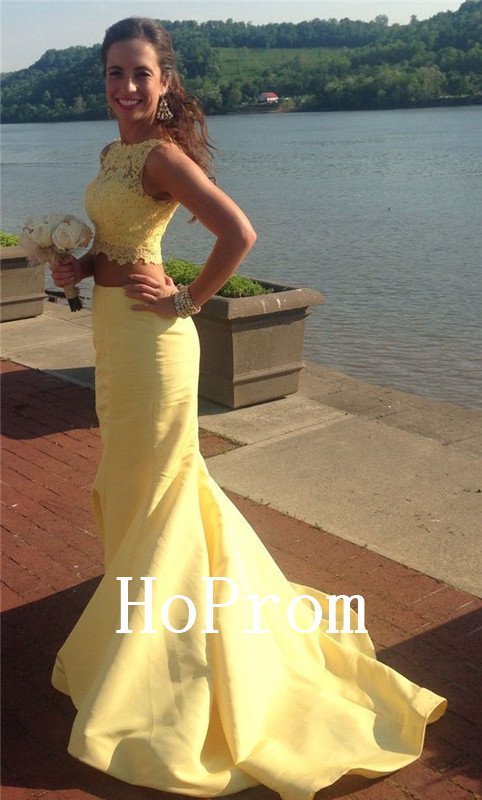 Two Piece Prom Dress,Sleeveless Prom Dresses,Evening Dress