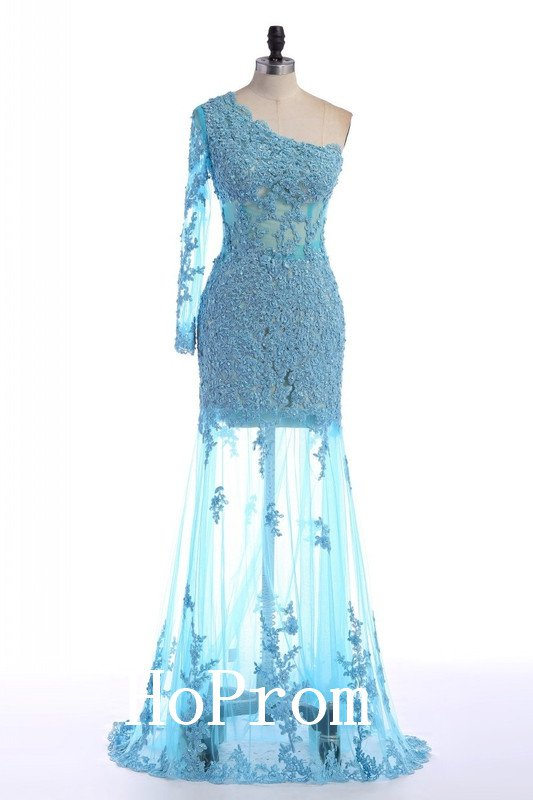 One Shoulder Prom Dress,Applique Prom Dresses,Evening Dress