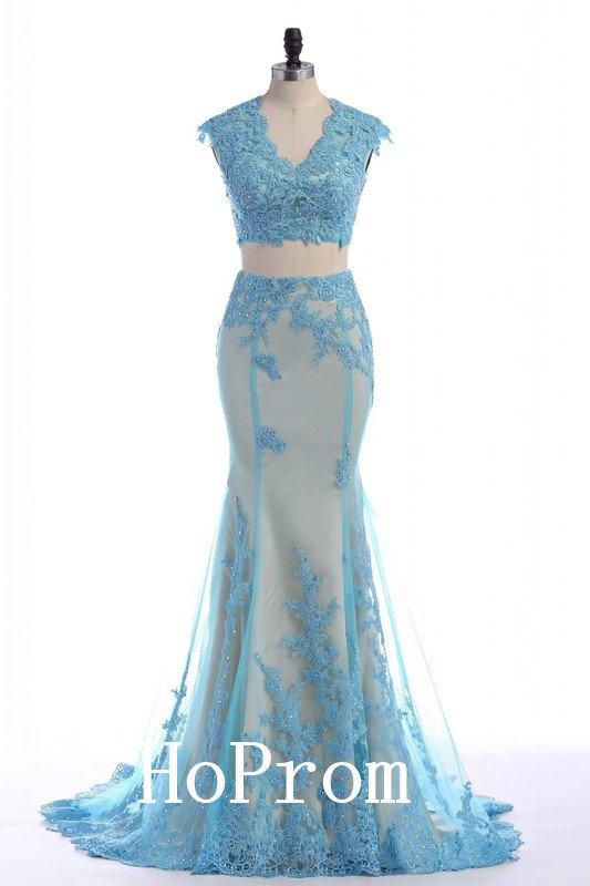 Two Piece Prom Dress,V-Neck Prom Dresses,Evening Dress