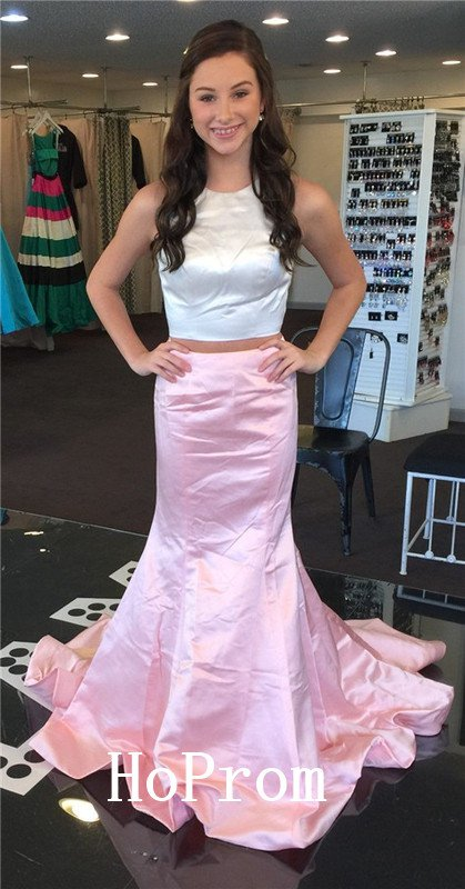 Two Piece Prom Dress,Satin Long Prom Dresses,Evening Dress