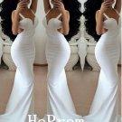 White Satin Prom Dress,Sheath Mermaid Prom Dresses,Evening Dress