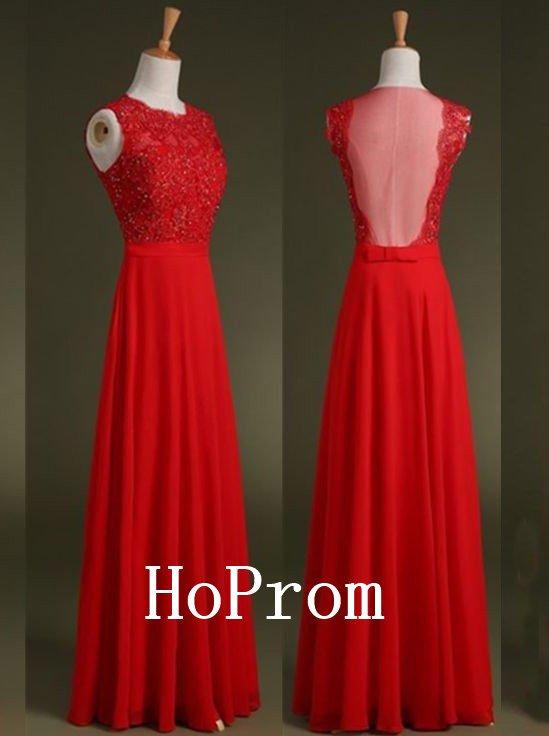A-Line Beads Prom Dress,Sleeveless Red Prom Dresses,Evening Dress