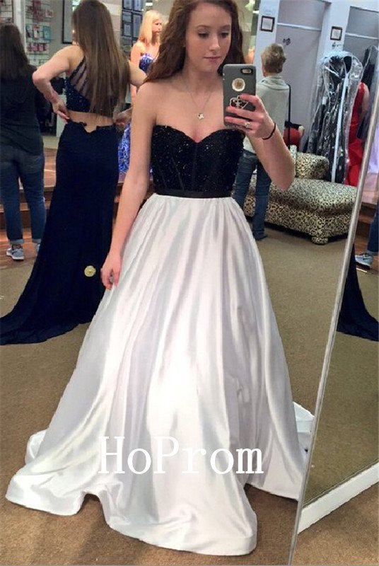 Black White Prom Dress,Sweetheart Prom Dresses,Evening Dress