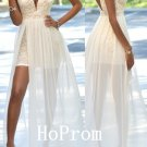 Sleeveless Prom Dress,Lace Chiffon Prom Dresses,Evening Dress