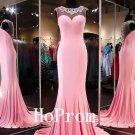 Sleeveless Pink Prom Dress,Beaded Prom Dresses,Evening Dress