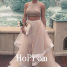 Two Piece Prom Dress,Ruffle Tulle Prom Dresses,Evening Dress