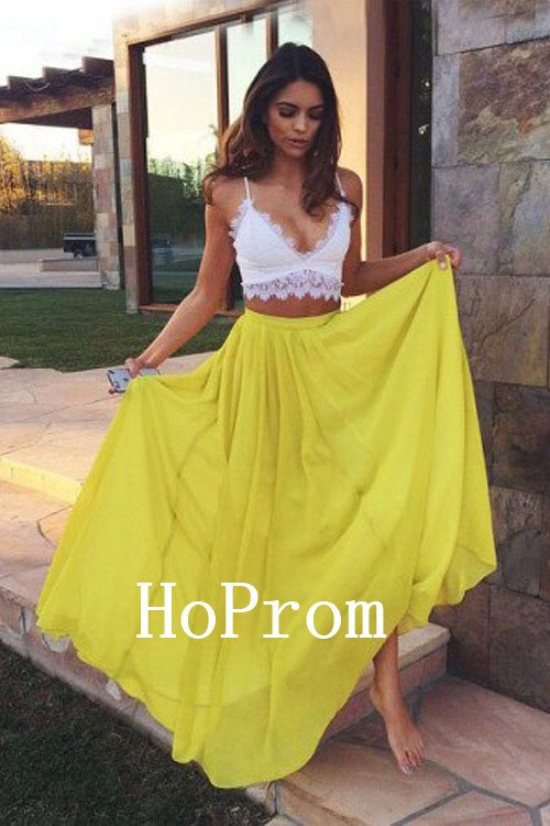 Spaghetti Straps Prom Dress,Yellow Chiffon Prom Dresses,Evening Dress