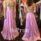 Lavender Chiffon Prom Dress,-A-Line Prom Dresses,Evening Dress